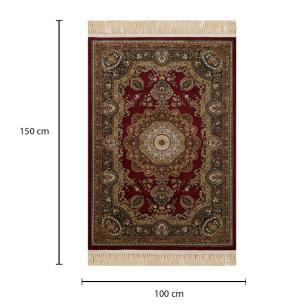 Tapete Persa Kerman Vermelho com Detalhes em Preto e Bege - 100x150cm