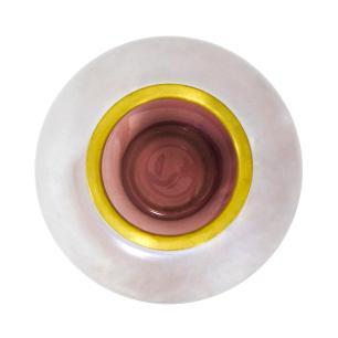 Vaso Decorativo em Vidro na Cor Rosa com Detalhes em Dourado - 20x20cm