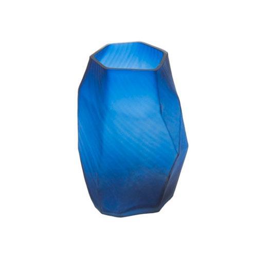 Vaso em Vidro Decorativo  em Azul - 22x15x15cm