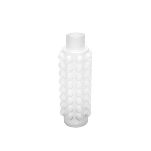 Vaso em Vidro Branco com Relevo  - 35x11cm