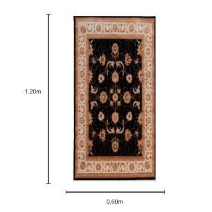 Tapete Persa na Cor Preto com Detalhes em Bege - 120x60cm