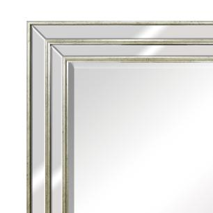 Espelho Retangular Prata com Moldura Espelhada - 73x93cm