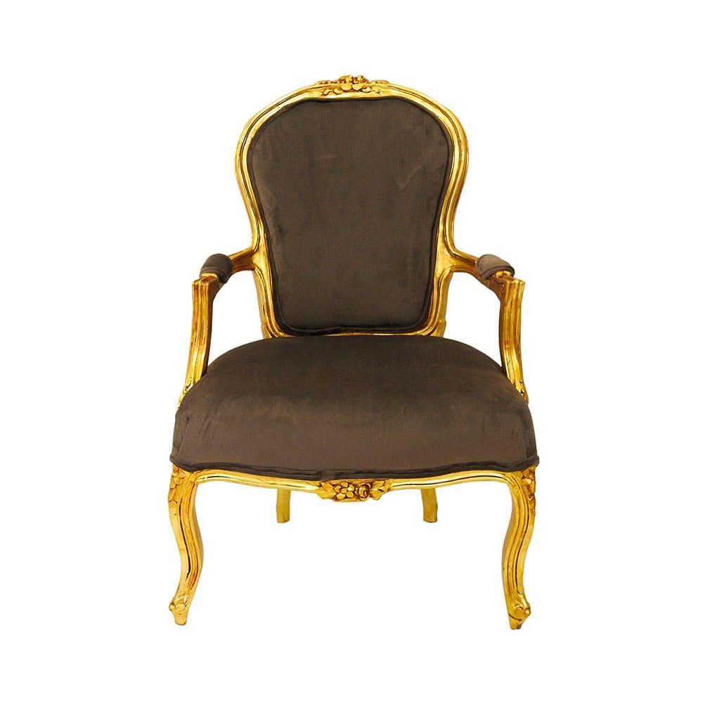 Poltrona Clássica Luis XV em Madeira Dourada com Estofado Marrom - 100x67x67cm