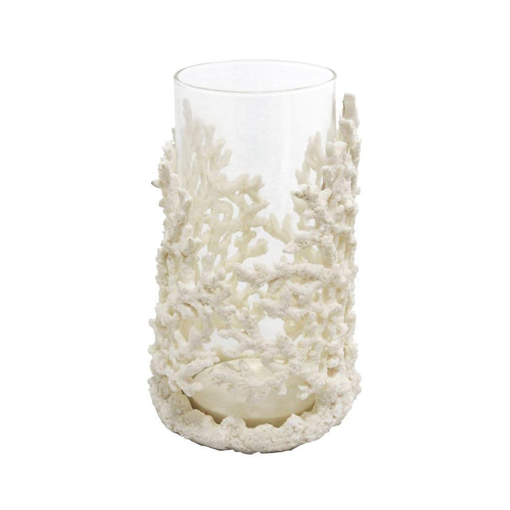 Castiçal Decorativo de Coral em Resina Branca e Vidro - 25x16x13cm