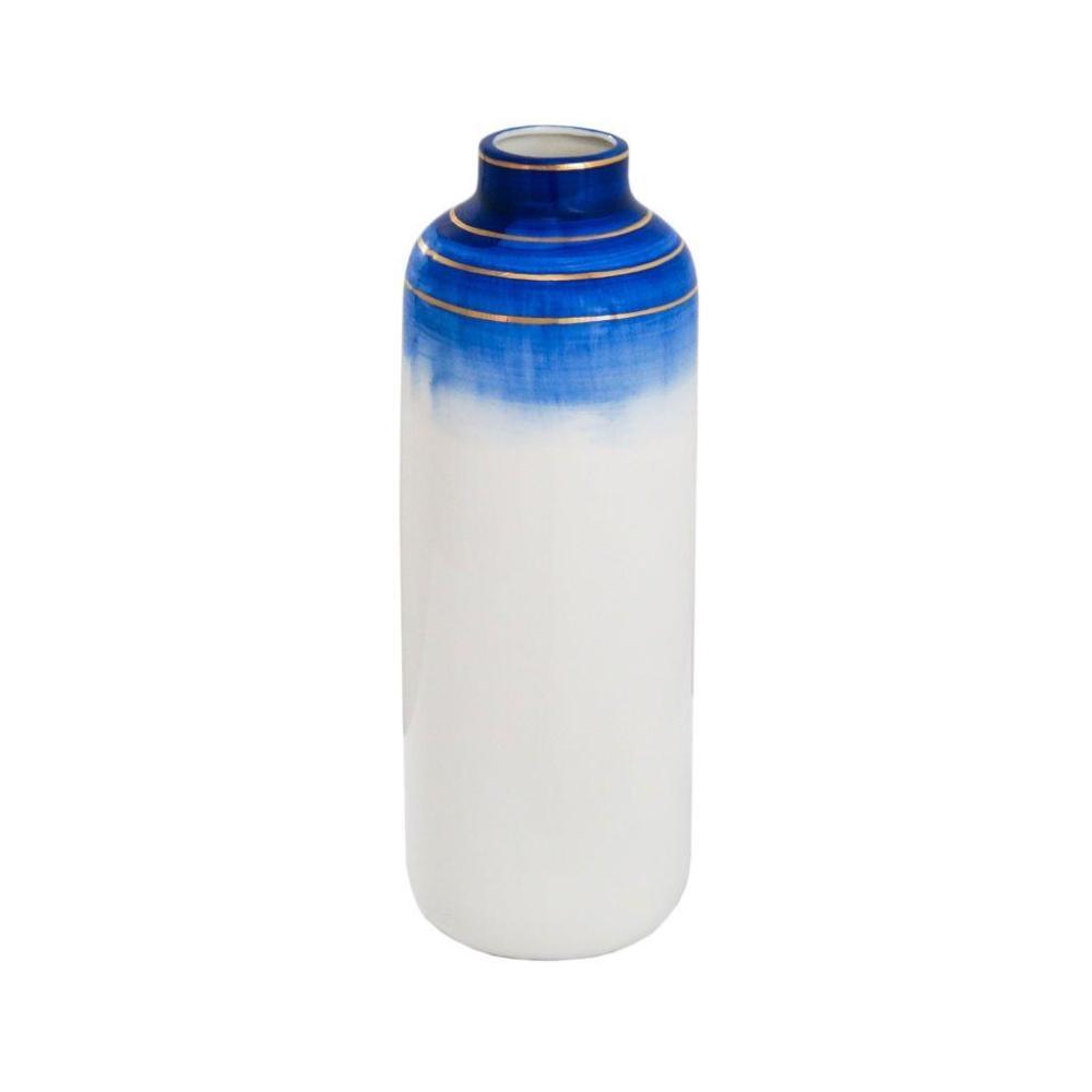 Vaso Decorativo Branco com Detalhes em Azul e Dourado - 36x12x12cm
