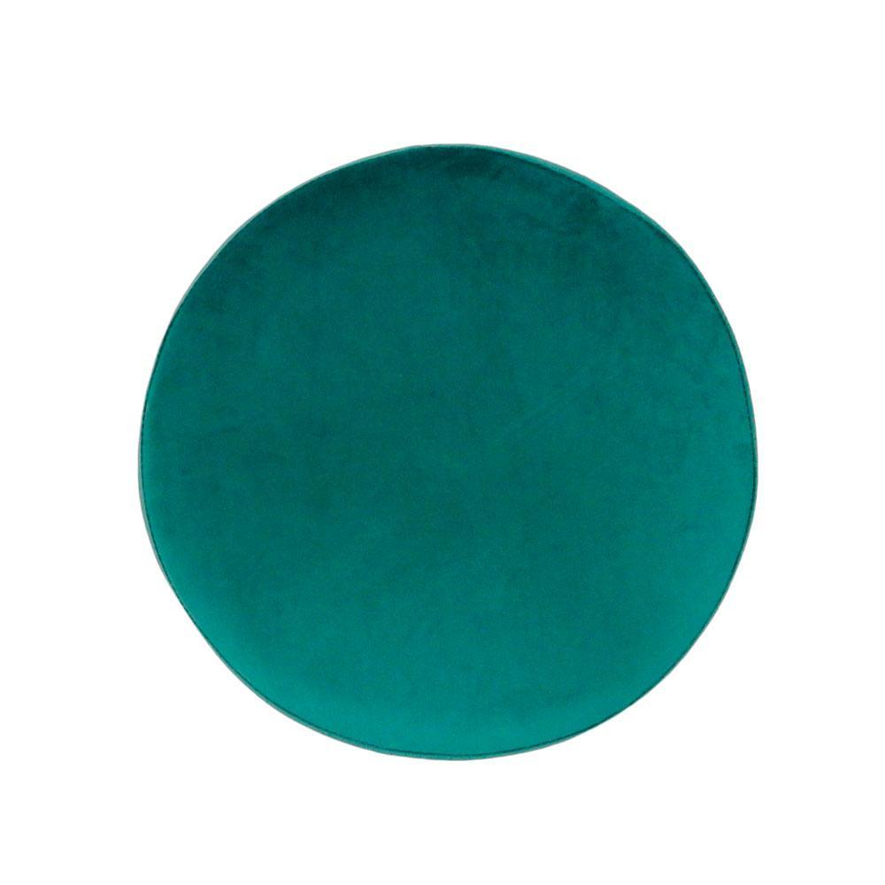 Puff com Base em Metal e Estofado em Veludo Azul - 44x39cm