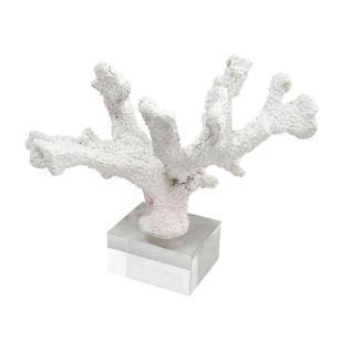 Escultura de Coral em Resina Branca e Base em Cristal - 21x31x20cm