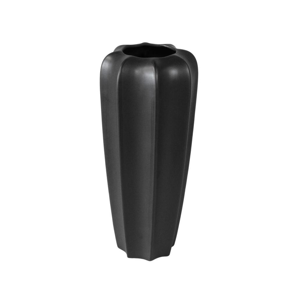 Vaso Decorativo em Cerâmica Preto Grande - 40x40cm