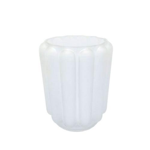 Vaso em Vidro Decorativo com Relevo Branco - 18x14cm
