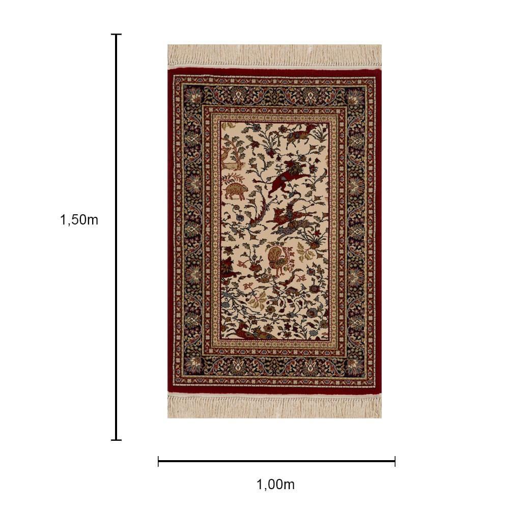 Tapete Persa Ardebil Bege com Detalhes Vermelho - 100x150cm
