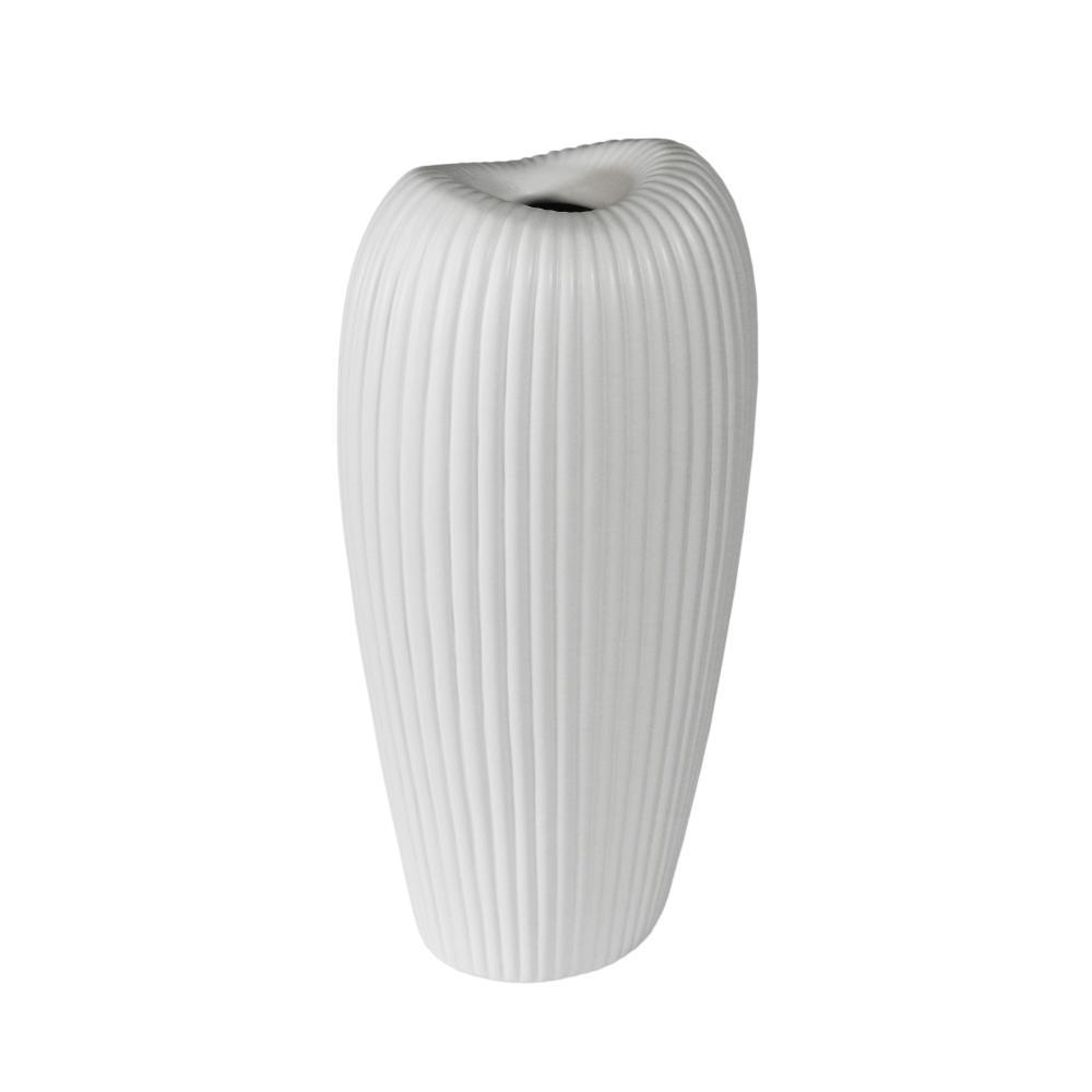 Vaso Decorativo em Cerâmica na Cor Branca - 42x20x14cm
