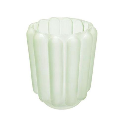 Vaso em Vidro na Cor Verde com Relevo - 15x12cm