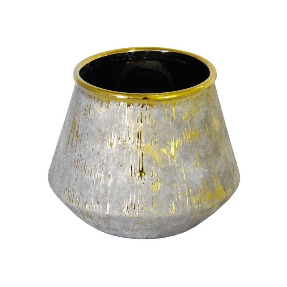 Vaso Rústico em Cerâmica com Detalhes em Dourado - 20x19x19cm