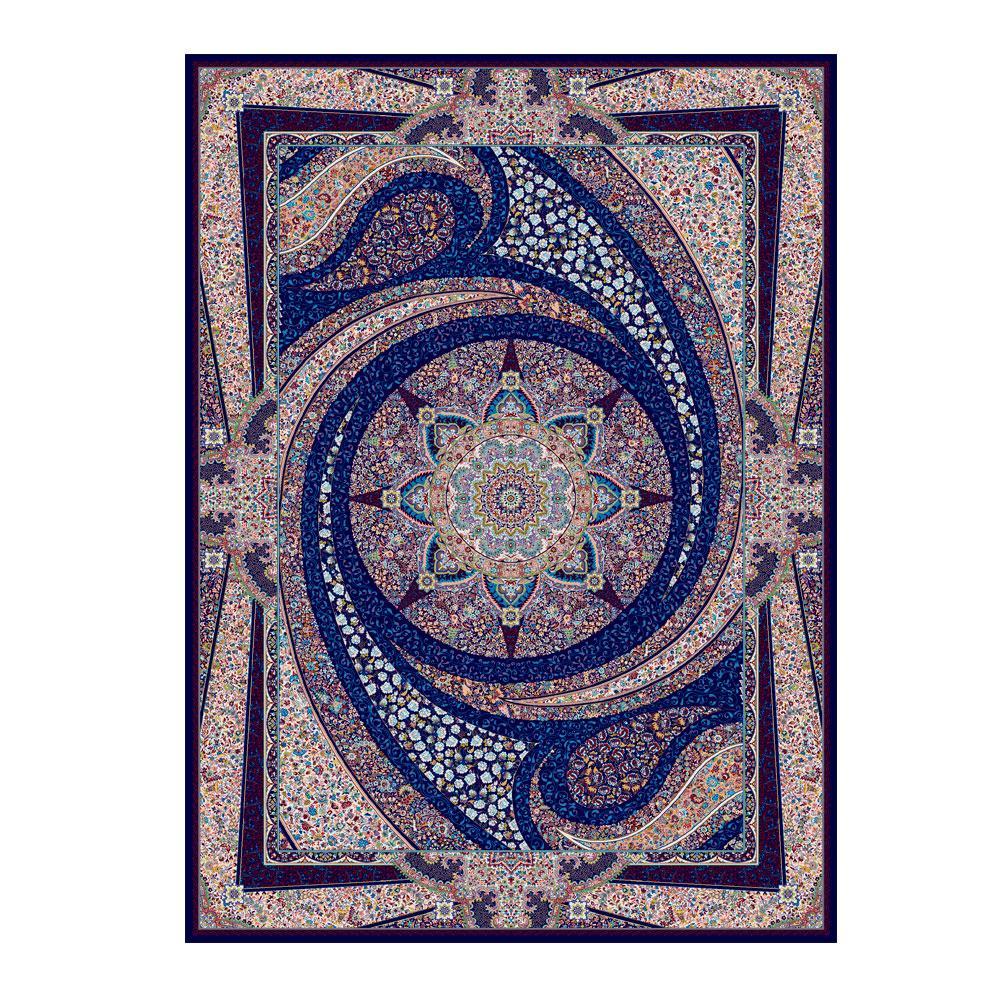 Tapete Persa com Franja Azul Medalhão Floral - 240x340cm