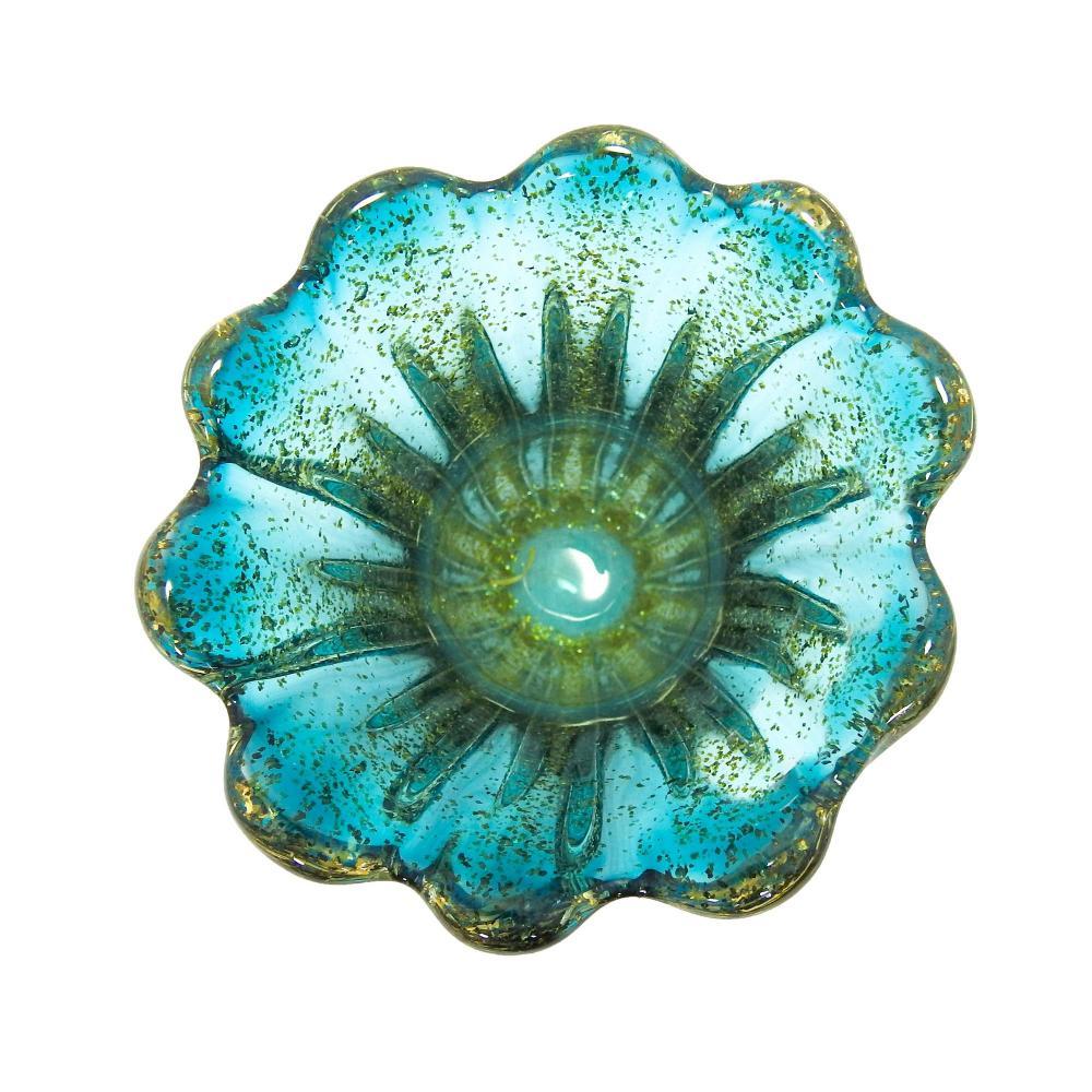 Vaso em Murano Azul com Detalhes Dourado - 14x16x14cm