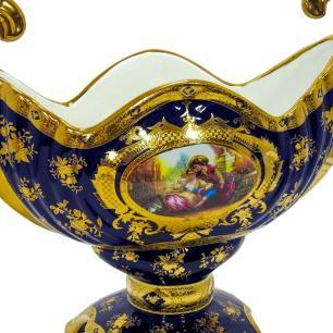 Vaso Decorativo em Porcelana Azul com Detalhes em Dourado - 36x40x17cm