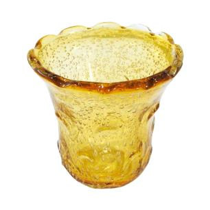 Vaso em Murano Âmbar com Detalhes Dourado - 17x17x17cm