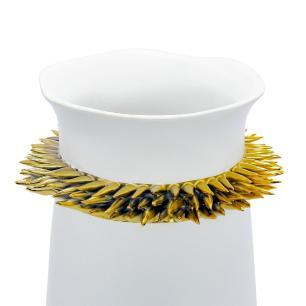 Vaso Decorativo Branco com Detalhes Dourado - 40x15x15cm