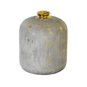 Vaso Rústico em Cerâmica com Detalhes em Dourado - 26x19x19cm
