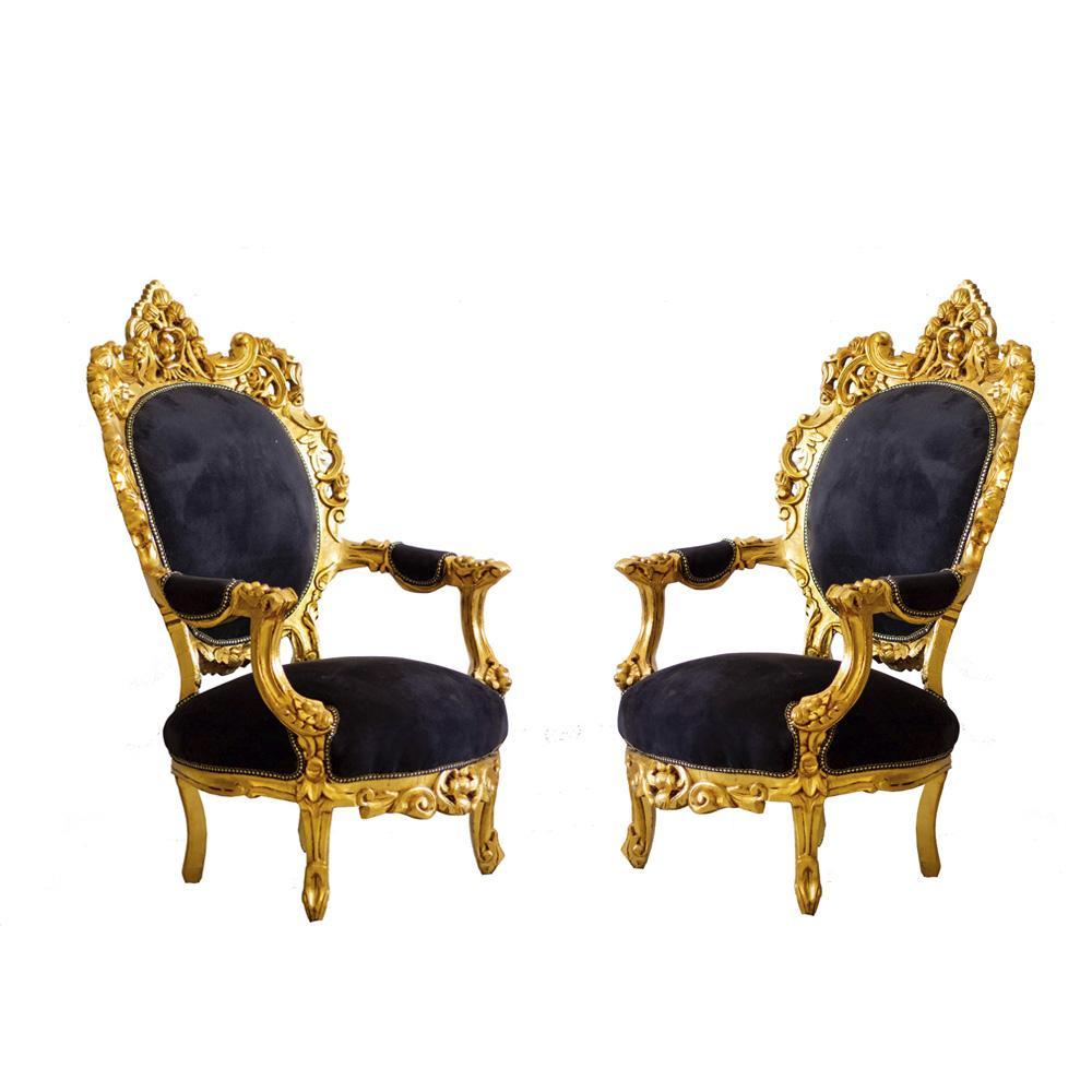 Par de Poltronas Clássica Tipo Luis XV Linha Pallace Gold com Tecido Preto