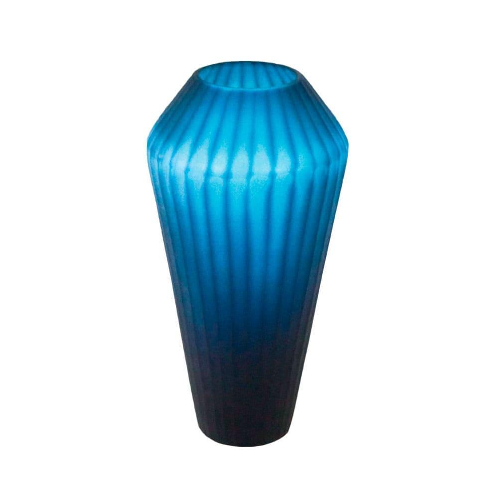 Vaso Decorativo em Vidro na Cor Azul Escuro - 35x16cm