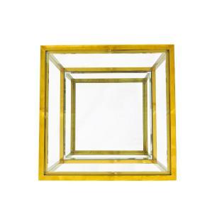Mesa Auxiliar Dourada com Tampo de Vidro - 40x50x50cm