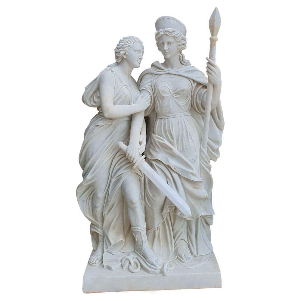 Estátua em Mármore 2 Mulheres - 47x188x116cm