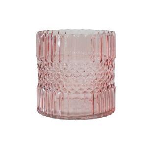 Vaso Decorativo em Vidro na Cor Rosa - 15cm