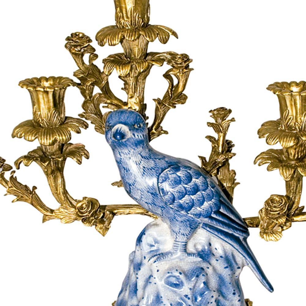 Castiçal em Porcelana e Bronze - 36x35cm