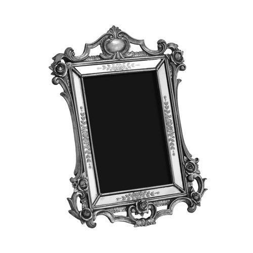 Porta Retrato Revestido em Resina Prata - 27x20,5cm