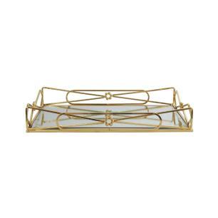 Bandeja Retangular em Metal Dourado