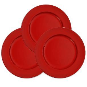 Conjunto com 6 Sousplat Revestido em Resina na cor Vermelha - 2x33cm