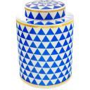 Potiche em Cerâmica Azul e Branco