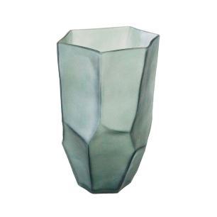 Vaso Decorativo em Vidro na Cor Cinza - 33x17cm