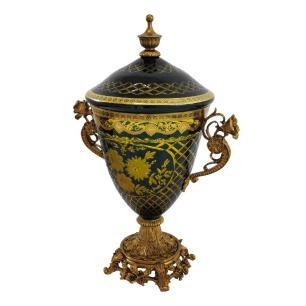 Potiche em Cristal Azul e Dourado com Detalhes em Bronze - 41x27x18cm