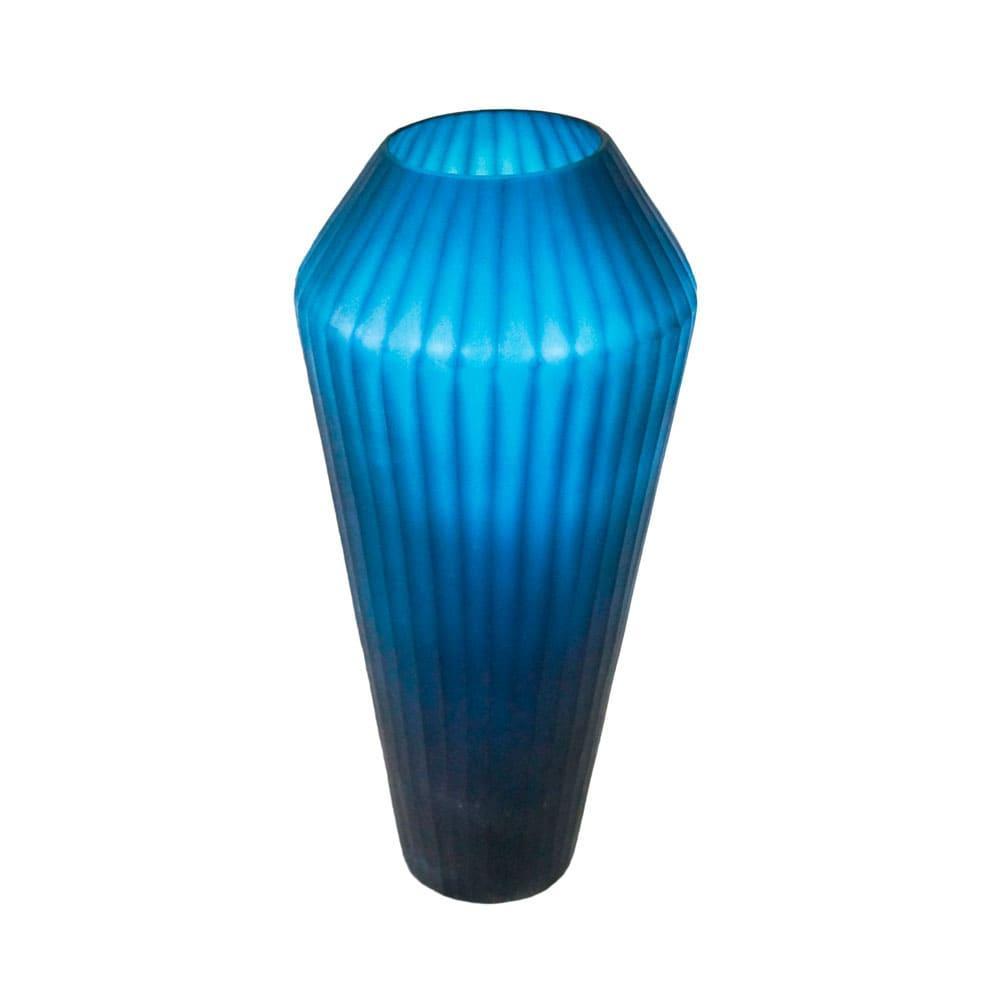 Vaso Decorativo em Vidro na Cor Azul Escuro - 44x19cm