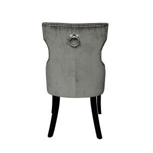 Cadeira em Madeira com Estofado Cinza - 93x53x60cm