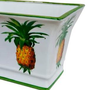Vaso Decorativo em Cerâmica com Desenhos de Abacaxi - 19x20x30cm