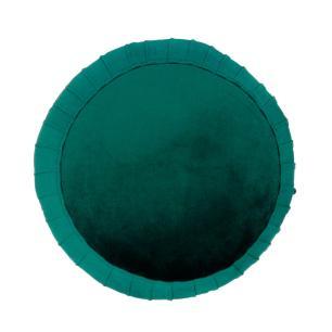 Puff com Base em Metal e Estofado em Veludo Azul - 45x45cm