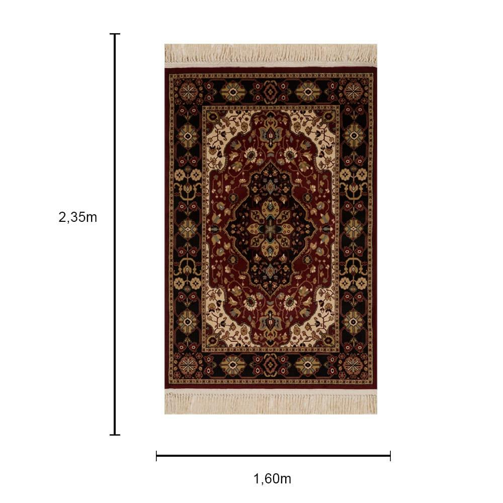Tapete Persa Tabriz Vermelho com Detalhes em Preto - 160x235cm