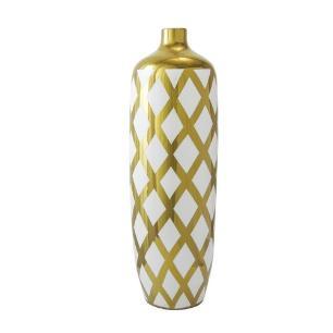 Vaso Decorativo Grande em Porcelana Dourado e Branco