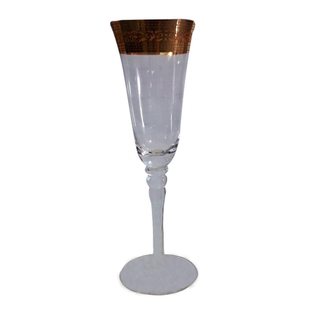 Conjunto de Taças para Espumante com Detalhes Dourado  - 6 Taças