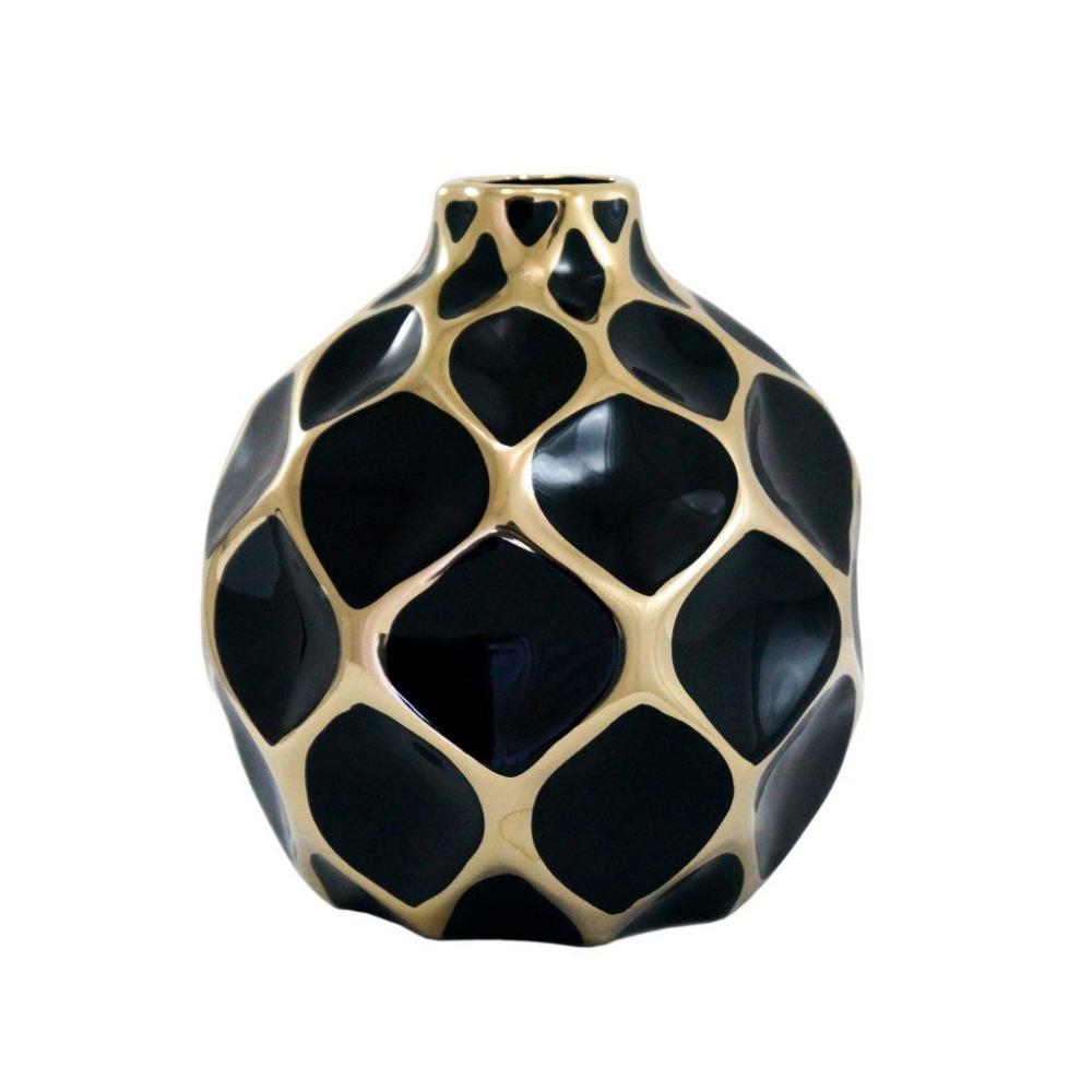 Vaso Decorativo Preto com Detalhes em Dourado - 19x14x14cm