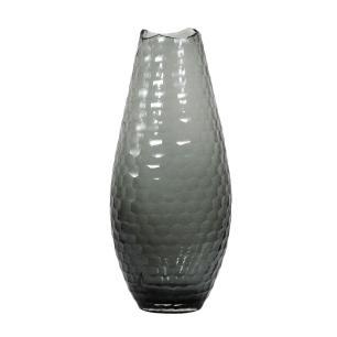 Vaso Decorativo em Vidro na Cor Cinza - 43x18,5cm