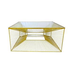 Mesa em Ferro Dourado com Tampo em Vidro - 39x80cm