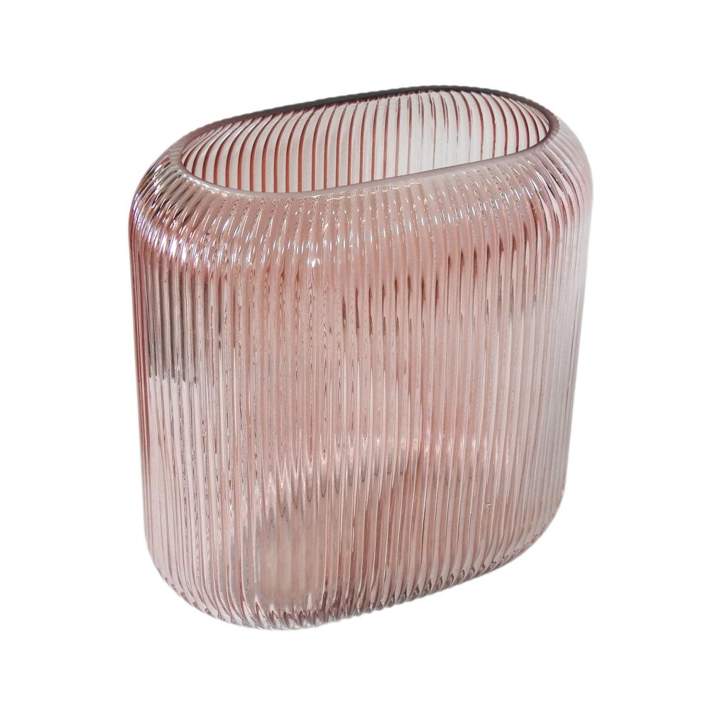 Vaso Decorativo em Vidro Rosa - 25x24x13cm