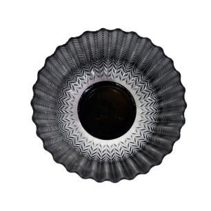 Castiçal Decorativo Produzido em Vidro na Cor Preta - 22x17cm