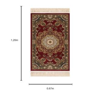 Tapete Persa Kerman Vermelho com Detalhes Bege - 67x120cm