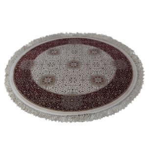 Tapete Redondo Persa com Bege e Vermelho - 150x150cm