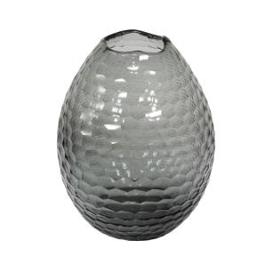 Vaso Decorativo em Vidro na Cor Cinza - 30x22,5cm